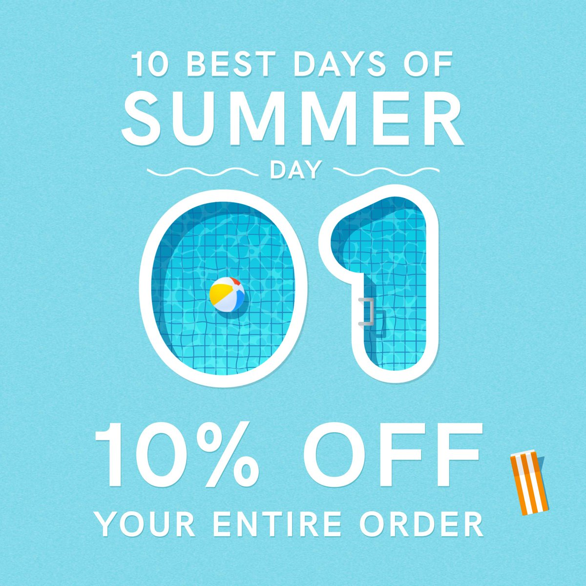 The 10 Best Days of Summer are here and with it, the hottest deals of the season! Today we're kicking things off with 10% off your entire order. What are you waiting for? Dive on in at the link below!!  Shop Now: https://t.co/f34cTTJide https://t.co/M6bkwcK0K7