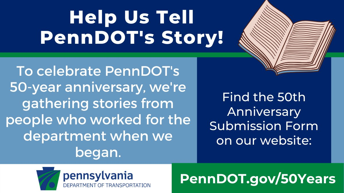 Did you, a friend, or family member work for PennDOT when we began (50 years ago TODAY)? Help us remember where we've been as we recognize 50 years of building communities. Please fill in our 50th Anniversary Submission Form (open in Chrome): https://t.co/MVYkvGLObi. Thank you! https://t.co/iIuF62lnbo