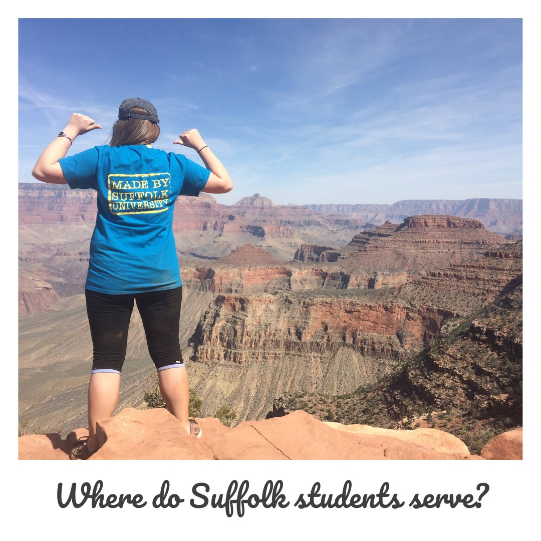 Where do Suffolk students serve? All over Greater Boston, the United States, and the world! With community partners everywhere, see how YOU can make an impact globally: https://t.co/Z3BTUDpl95 https://t.co/lde784qPXw