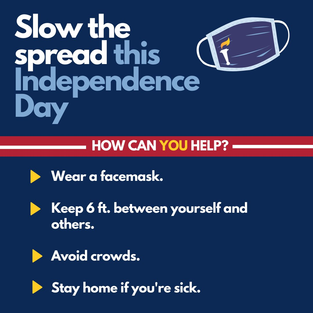 Help us slow the spread this 4th of July weekend. Below are some helpful reminders!