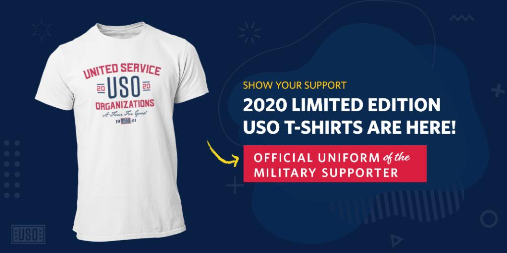 Service members have voted and the 2020 USO T-shirt is here! We want to thank @kroger for providing the shirts made of recycled material and @zacbrownband for designing and printing the shirts. Visit https://t.co/DTu4f3opHs to donate and get your patriotic shirt! #USOSupporter https://t.co/MBOIWZQSVJ