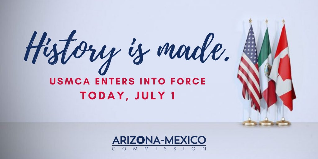 The #USMCA — a 21st trade agreement — enters into force TODAY, July 1. 🇺🇸🇲🇽🇨🇦