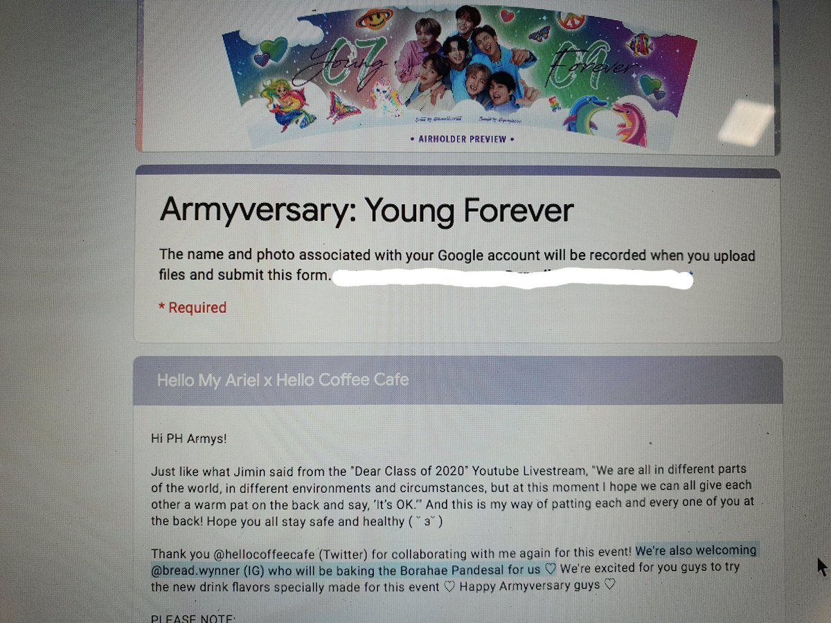 I am so excited to bake for my co Armys!! 💜 coffee and bread is the perfect combination.. yes?Bread.Wynner assorted Borahae pandesals will be available 🥰🥰 Thank you for welcoming me sa event niyo @hoseoklaurent x hello coffee cafe! 💜tinyurl.com/Armyversary2020
