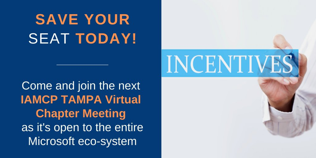 Microsoft partner incentives allow you to expand your business and shape the customers' technology digital transformation. Come and learn what incentives are available at the next #IAMCP Tampa virtual Chapter Meeting on July 14 at 10:30 AM EST  https:// buff.ly/2ZluRfe      #MSPartner<br>http://pic.twitter.com/NSd4LPeJBe