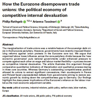 Just out on Socio-Economic Review! In our new open access article w/ @PhilipRathgeb we show how, against common nationalist narratives, the Eurozone poses challenges for organised labour that cut across the North/South, core-periphery divide. academic.oup.com/ser/article/do… @SASE_Meeting