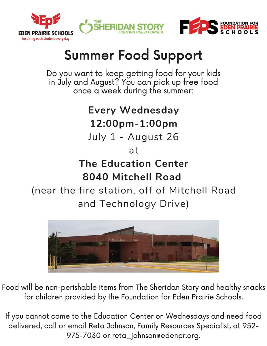 🥫Summer food support begins today, July 1 and runs every Wednesday through August 26 at the Education Center in partnership with @SheridanStory and @Foundation4EPS