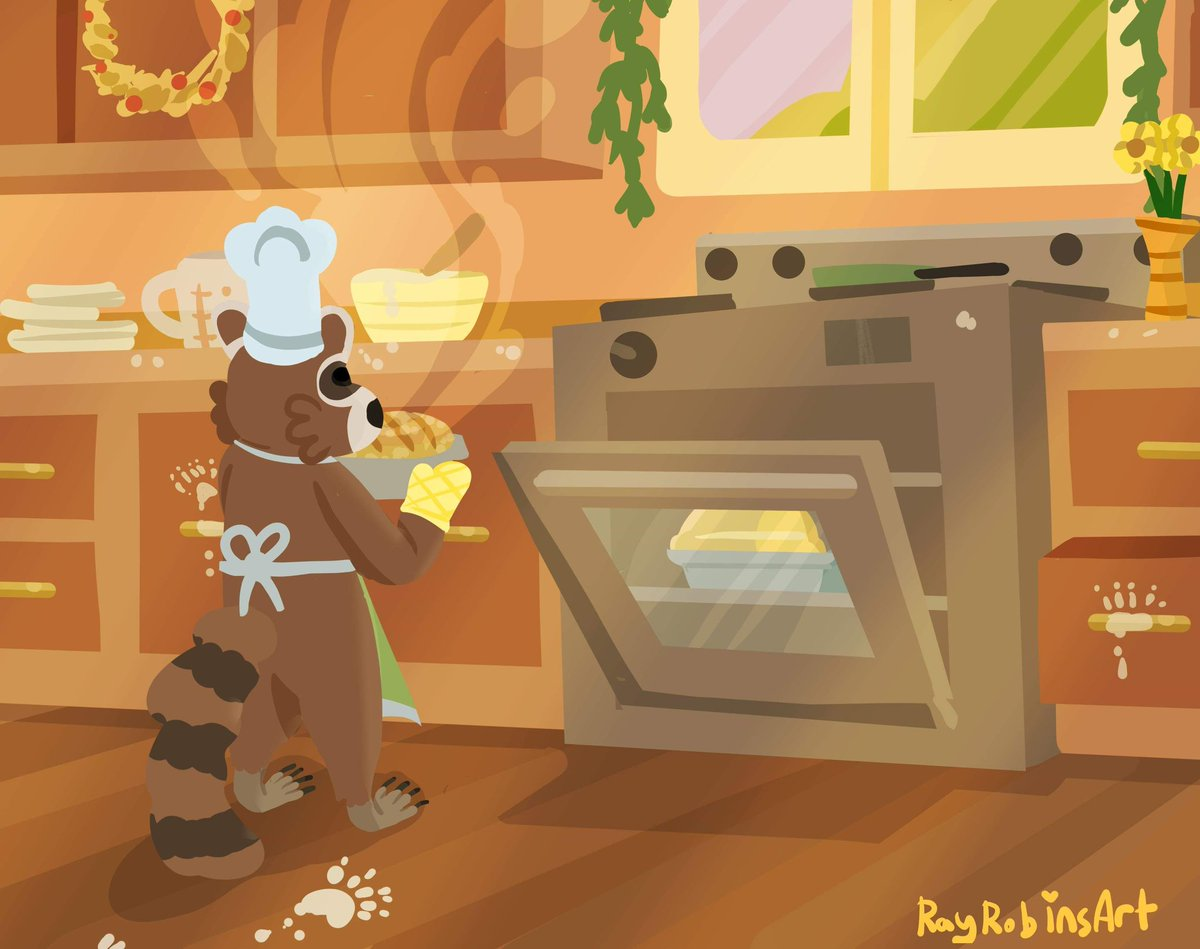Here's a raccoon baking bread to brighten your day!   #cottagecore #raccoon #illustration pic.twitter.com/BhM34I4tXe