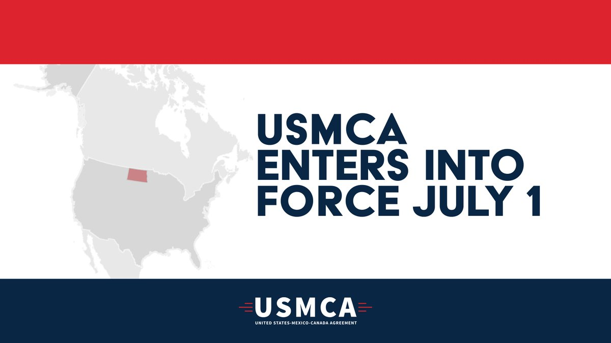 The #USMCA goes into effect today, which is terrific for farmers, business owners, innovators & more. This is a new era of trade & strengthened relationships w/ ND's largest trading partners. Thanks to @POTUS, Sens. Hoeven & Cramer and Rep. Armstrong for their work on this deal. https://t.co/sAcwHQagXu