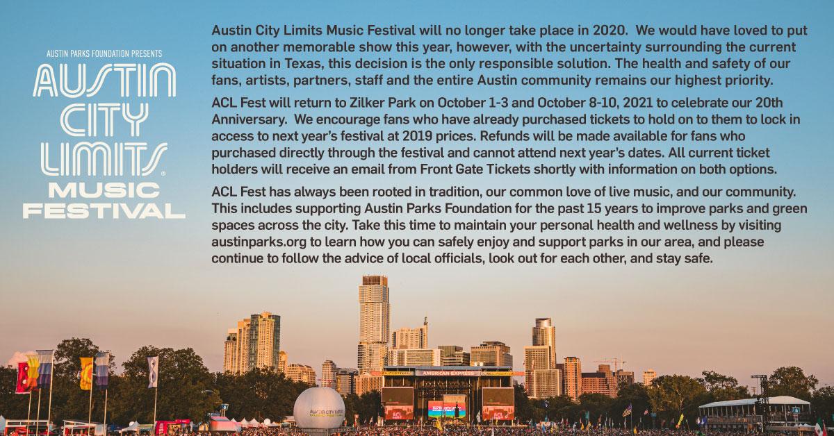 Austin City Limits Music Festival statement.