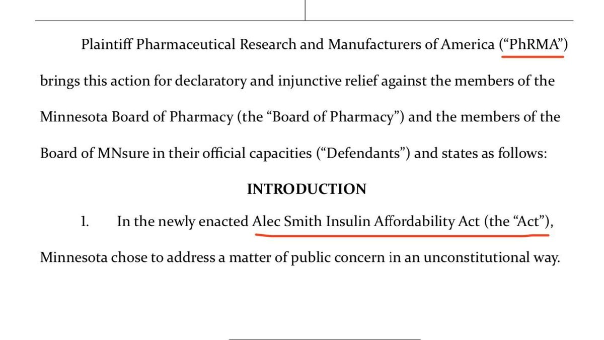 BREAKING: Pharma is suing to block Minnesota's new insulin access law.  The Alec Smith Insulin Affordability Act was passed in honor of a 26-year-old who died rationing insulin.  The law would've taken effect today. Pharma's fighting it during a pandemic.  Beyond unconscionable. https://t.co/vzfBqPD3fo
