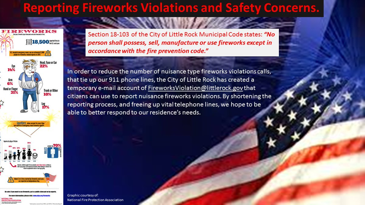 Starting tomorrow, all firework violations can be reported to FireworksViolation@littlerock.gov . Emailing firework violations will free the telephone lines for emergency calls for service. https://t.co/8eb7yuUnUV