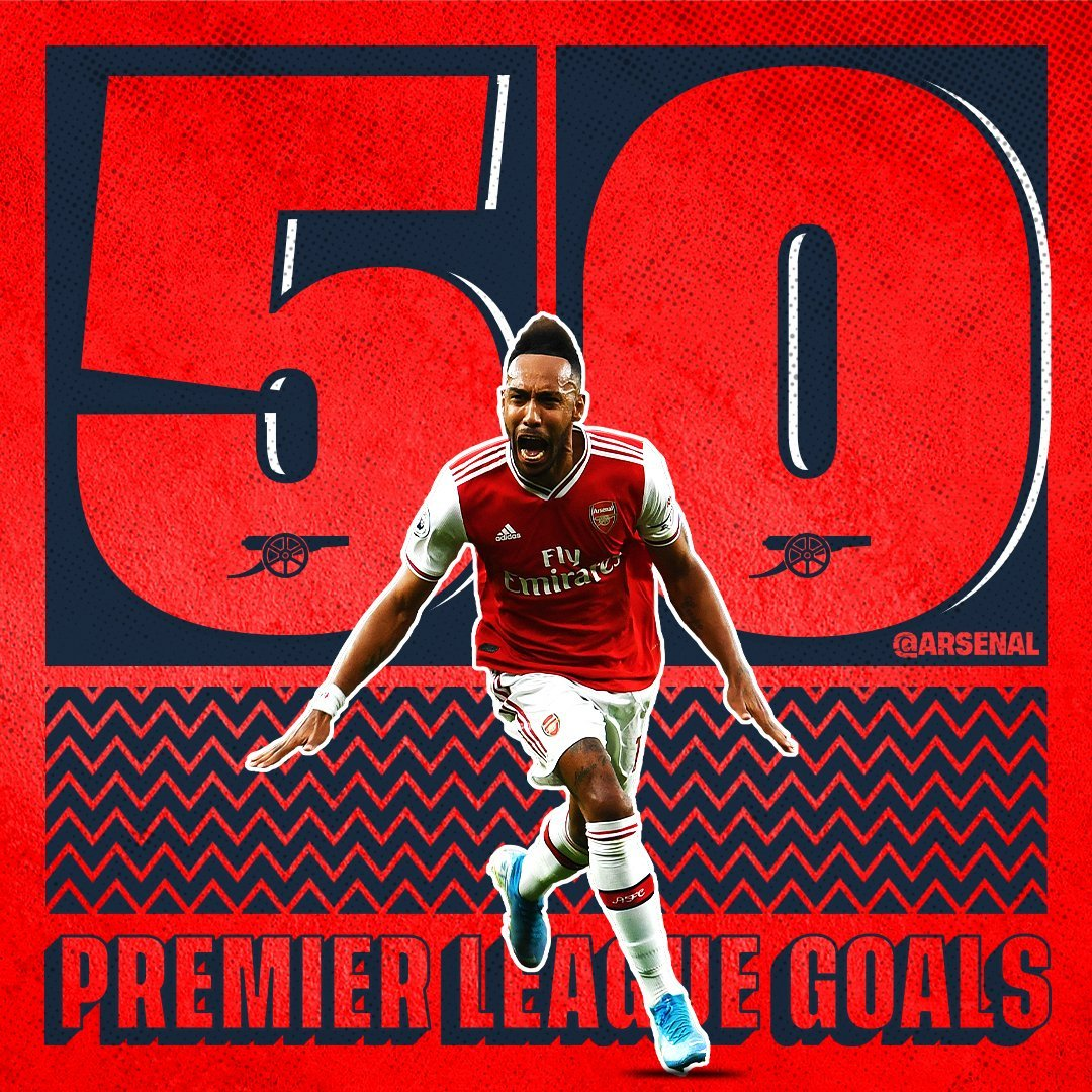 Its 50 PL goals for #aubameyang  Our captain did it in 79 games. Fastest ever Arsenal player to hit that mark. Sixth in the all time Premier League list. Achievement! pic.twitter.com/2fCqF3PmYu