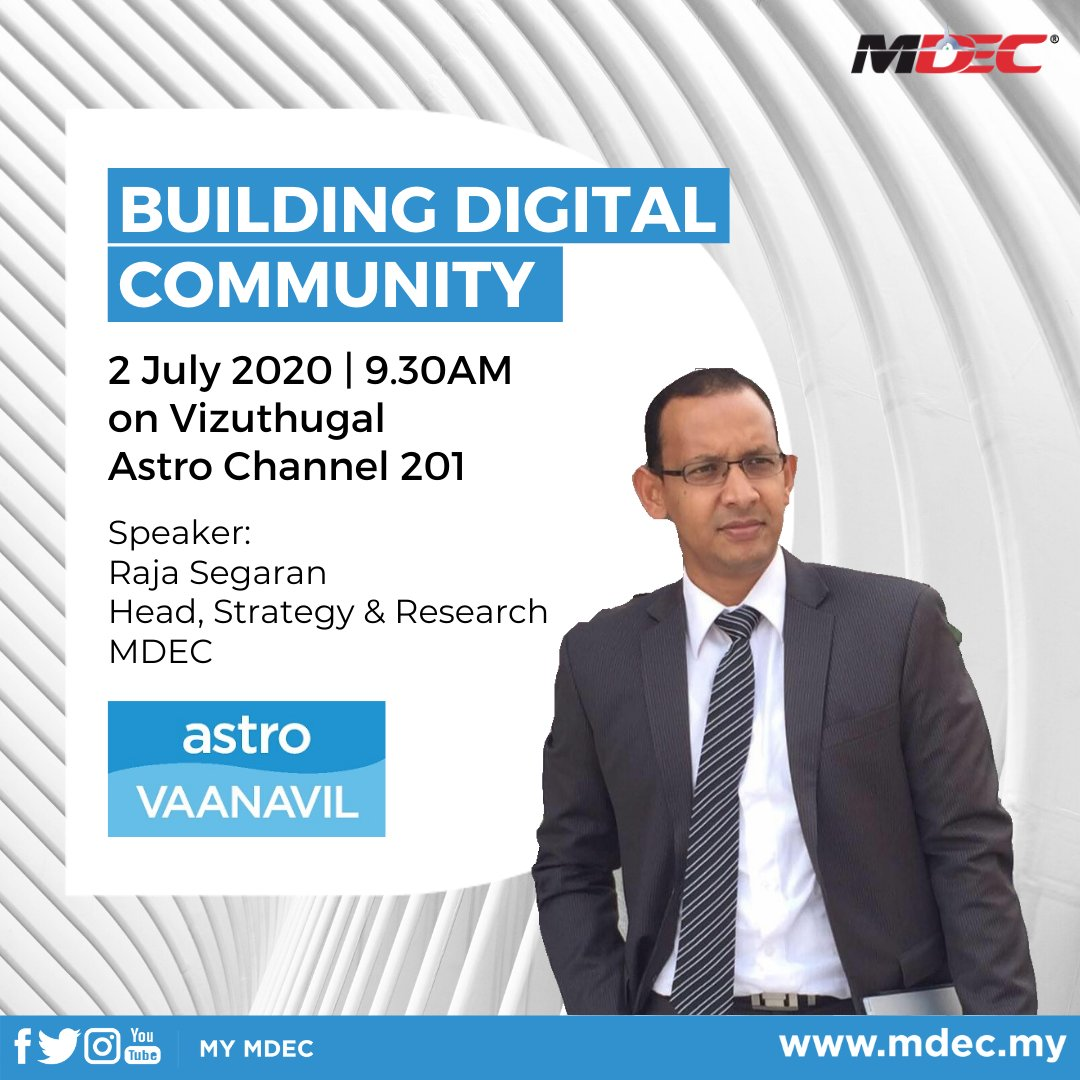 The time is now to make Malaysia the epicenter of the region's digital community. Tune in to @astro_vaanavil at 9.30AM this Thursday, as we discuss about building a digital community.   (Vizhuthugal is a Tamil language TV program)  #BersamaMenjanaEkonomi #LonjakanDigital https://t.co/jrncymsbit
