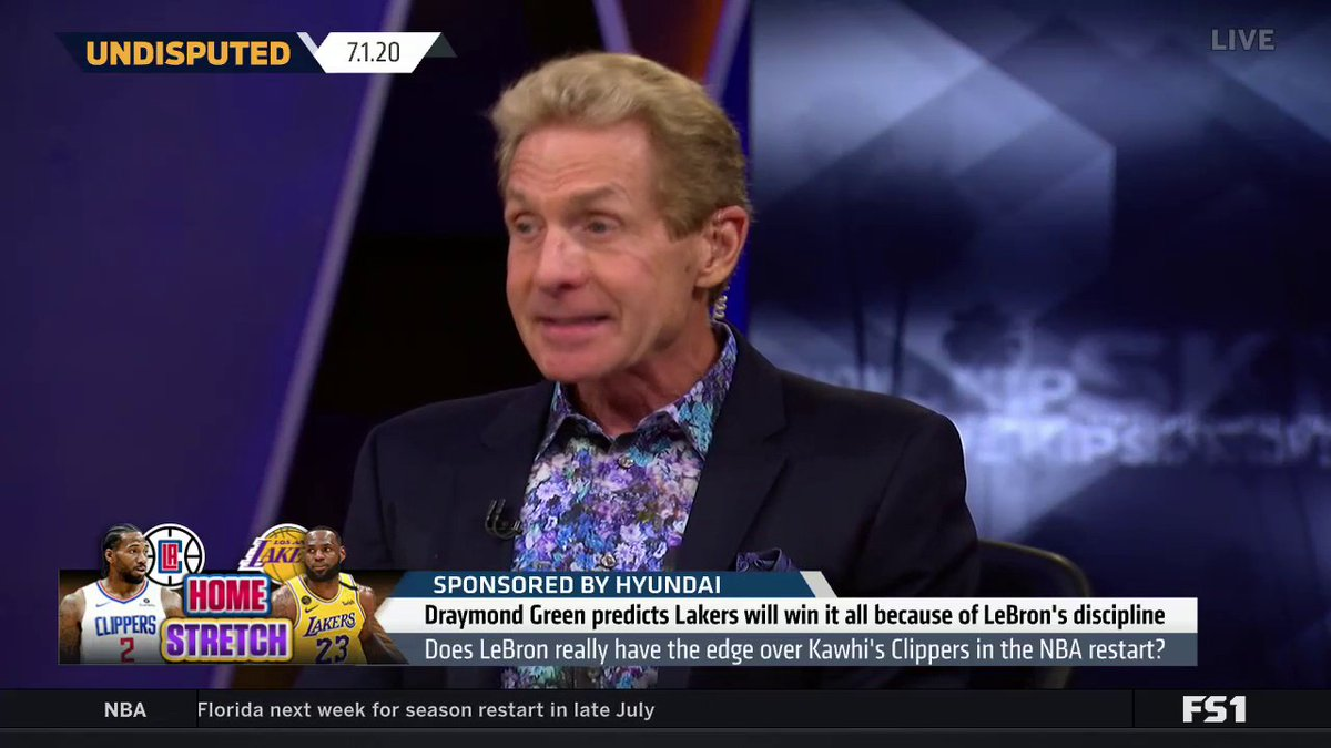 """Draymond predicts Lakers will win it all due to LeBron's discipline. @RealSkipBayless reacts:   """"Draymond called LeBron the 'B' word. Next thing I know, he's business partners with LeBron and signed to Klutch Sports! Now it sounds like Draymond is LeBron's PR Director!"""" https://t.co/CbIrVphn2w"""