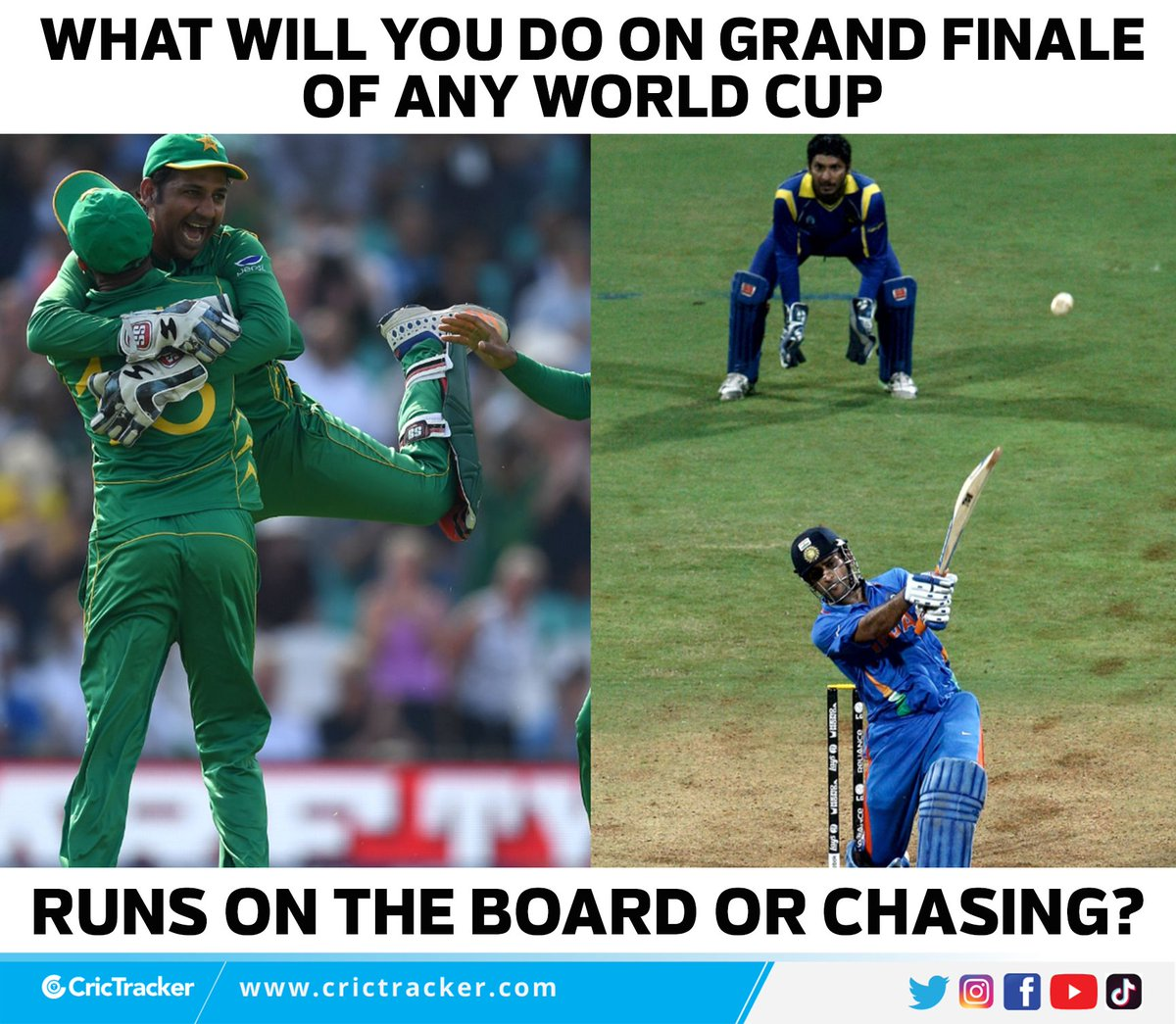 What should your team needs to do if wins the toss in grand final of World Cup?  #MSDhoni #WorldCup #SarfarazAhmed #T20WorldCup #Cricket #CricTracker https://t.co/l5WK9Fgwyg