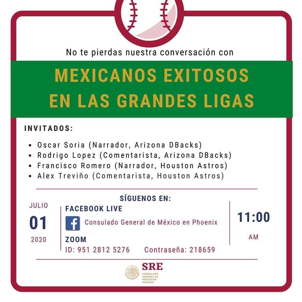 HOY, 11 AM🚨‼️ Atención seguidores del béisbol!!  Acompaña al Cónsul General, @jorgem_yescas, en el diálogo sobre mexicanos destacados en las grandes ligas⚾️ No te pierdas la conversación con nuestro panel de lujo directamente por Zoom o en Facebook Live 💻🤩 https://t.co/mJ2O9PYz4b