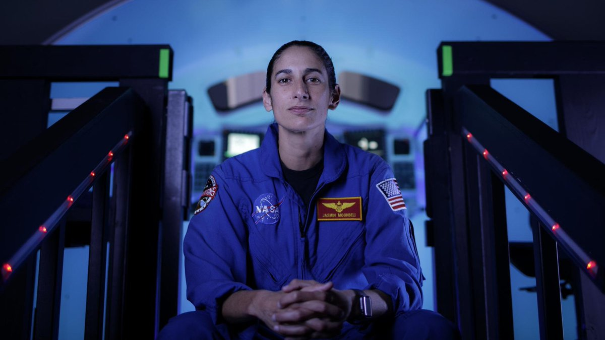 Jasmin Moghbeli (@AstroJaws) is the Mission Control voice guiding the astronauts on today's spacewalk. A @USNavy test pilot, Moghbeli was selected in 2017 to be one of our newest @NASA_Astronauts. She is now eligible for spaceflight: https://t.co/u6bmUhrM3v https://t.co/lWMZ50bPpW