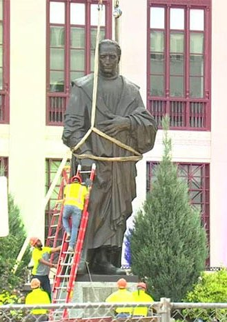 Historic day as Christopher Columbus statue is removed and replaced in Flavortown this morning.