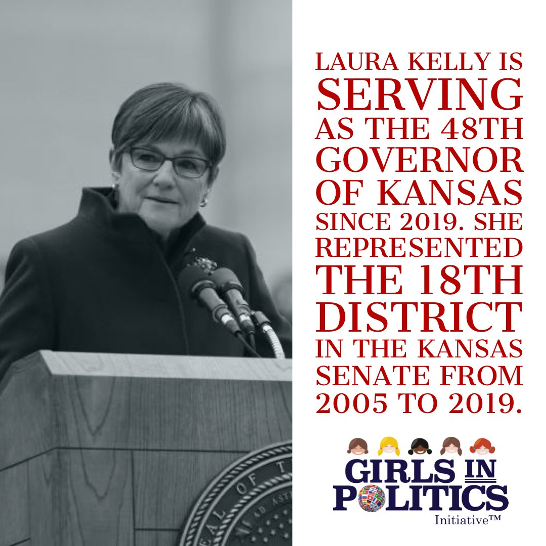 Laura Kelly is serving as the 48th governor of Kansas since 2019. She represented the 18th district in the Kansas Senate from 2005 to 2019. #womenleading #LauraKelly #Kansas #girlsinpoliticspic.twitter.com/jXDq4pfaF3