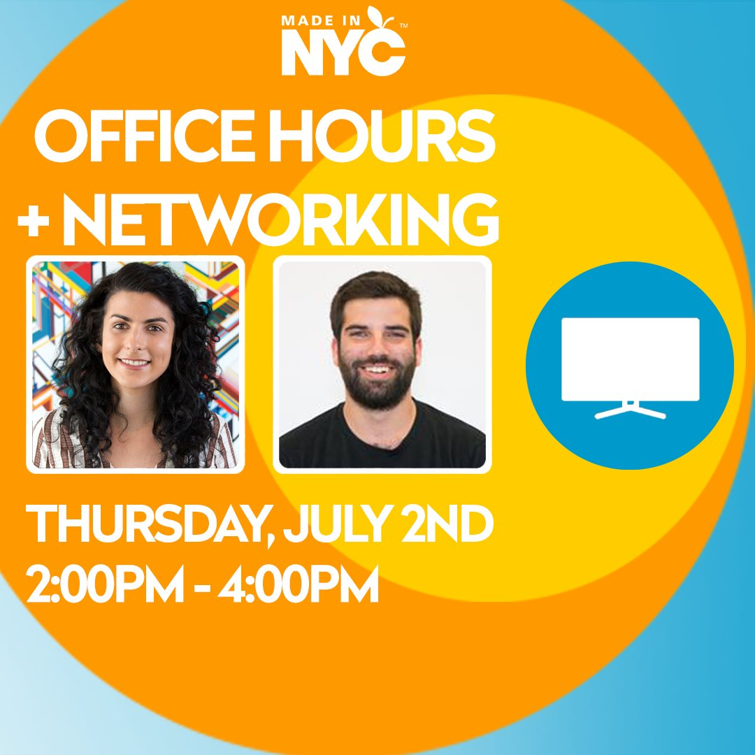 Every Thursday is #MadeinNYC Office Hours! Our team will be on hand to answer questions & connect you to resources. Sign up for either or both options now: https://bit.ly/2Biibhf ⠀⠀⠀⠀⠀⠀⠀⠀ ⠀⠀  1st Hour | 2-3P 15 Min 1:1 sessions   2nd Hour | 3-4P Group Networkingpic.twitter.com/BLQcxnzmMt