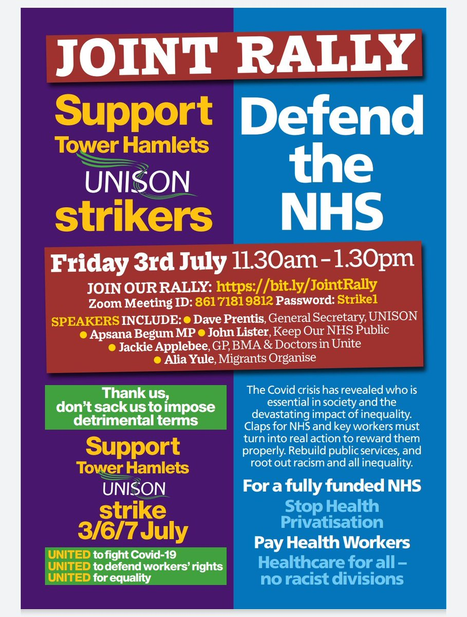 Reminder that we've got a massively important strike action in Tower Hamlets + virtual picket. Labour-run TH Council is firing and re-hiring its workforce to impose worse contracts. I'll be on the Whitechapel Idea Store picket on Fri and would be great to see you there x https://t.co/Ep5dOflD7D