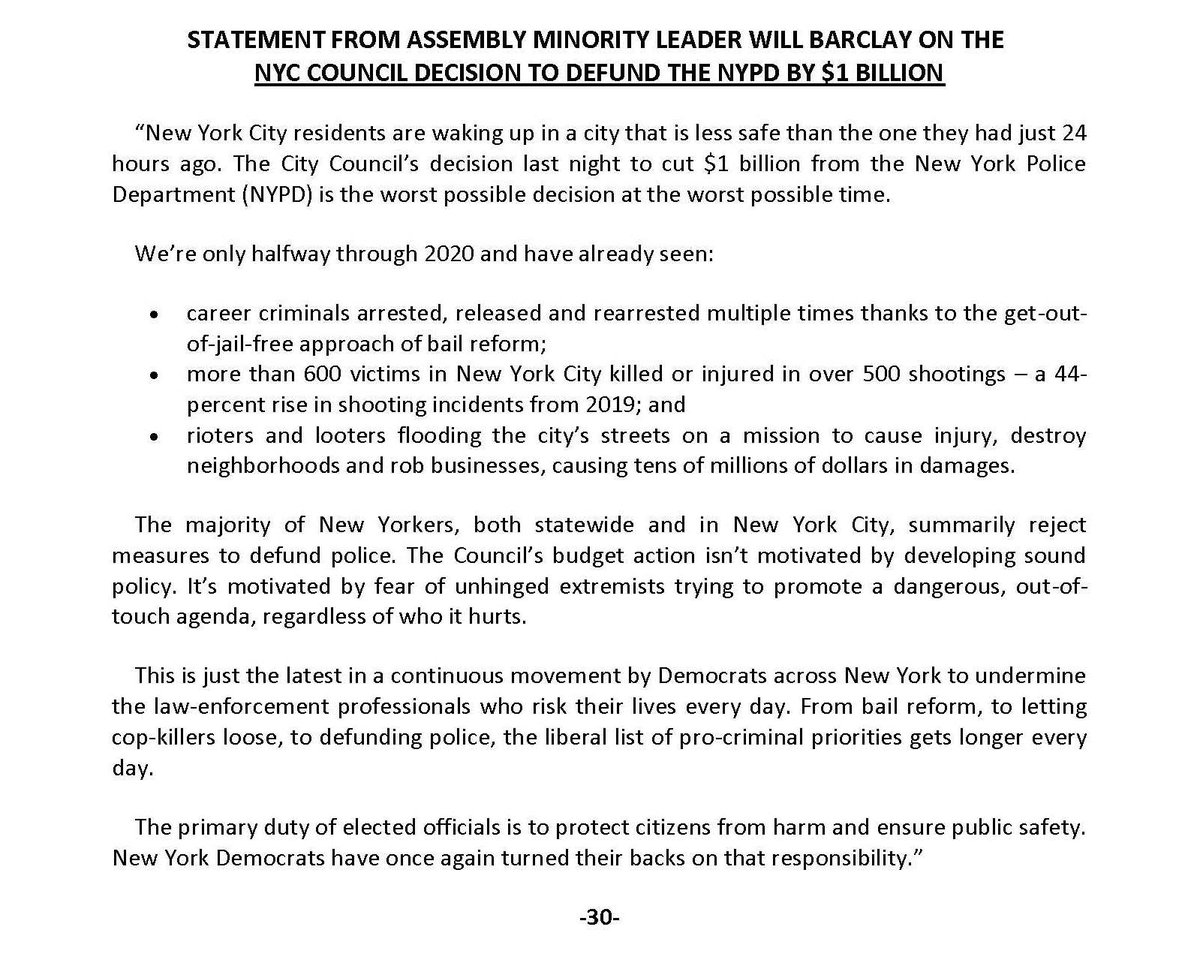Statement on the NYC Council Decision to Defund the NYPD by $1 Billion