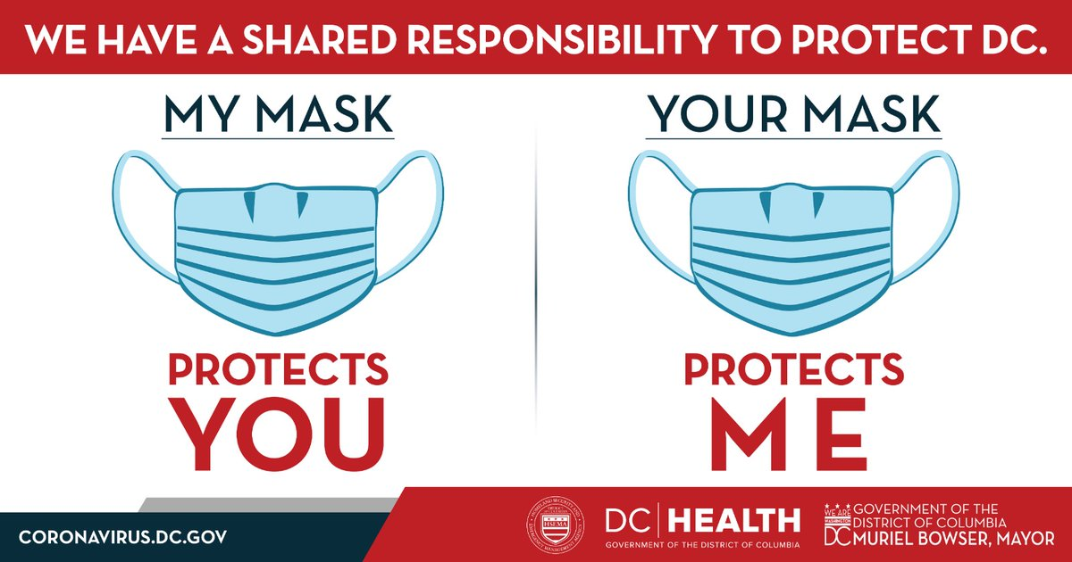 We all have a shared responsibility to protect DC. Wear a mask or face covering. Learn more: coronavirus.dc.gov
