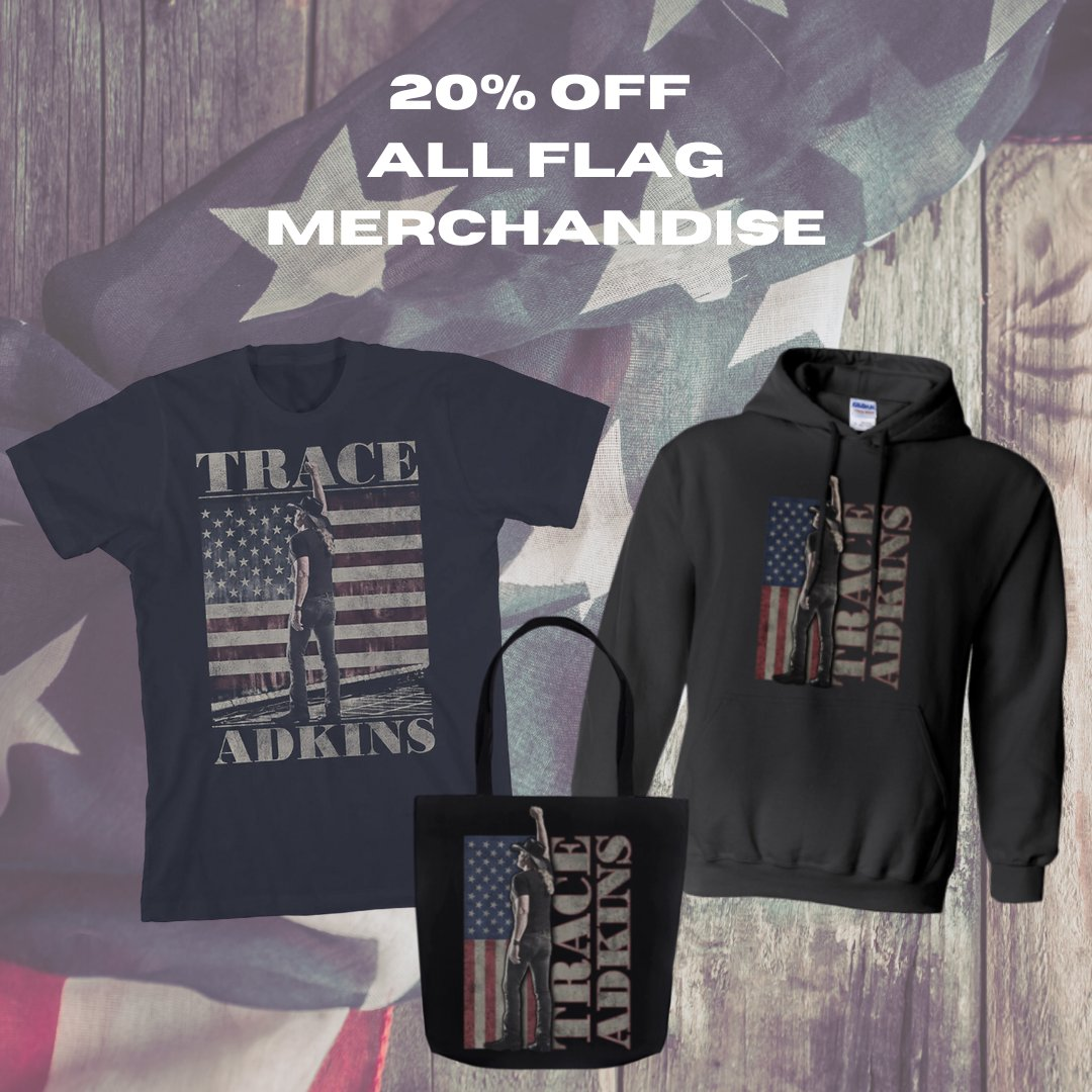 Now through Monday, get 20% off all of the popular Trace Adkins American Flag merchandise! The discount will be automatically applied in your cart at checkout. Shop now: traceadkins.com/collections/ju…