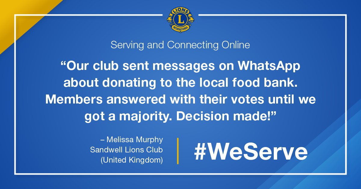 test Twitter Media - Lions share tips for continuing to serve safely in a new digital landscape. In the United Kingdom, the Sandwell Lions Club used WhatsApp to coordinate a hunger relief project. What are your tips? #WeServe https://t.co/lLT0JThqKR