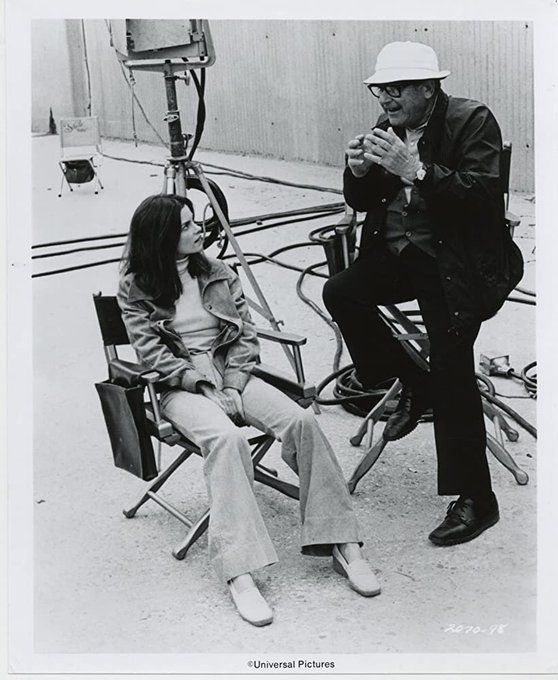 """Happy birthday to Genevieve Bujold.  Here she is on the set of \""""Earthquake\"""" from 1974."""