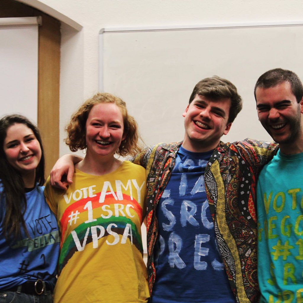 Say hello to your new #GUSRC Exec 2020-21 👋   Ella, Amy, Liam and Gregory had their first day in office today. Lots to do & learn, & for now they're  working online, but we hope to get back to the McIntyre Building in the not-so-distant future!  Exciting times on the horizon 🌤 https://t.co/2zyw1uzWeY