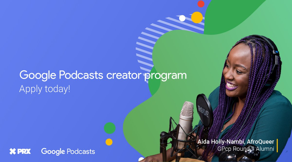 Applications are now open for this year's Google Podcasts creator program.    The program is designed to elevate underrepresented voices in podcasting by providing free training, equipment, and funding.   🎙️ Apply here → https://t.co/qv6Lki0AEy https://t.co/pljMGxKR79