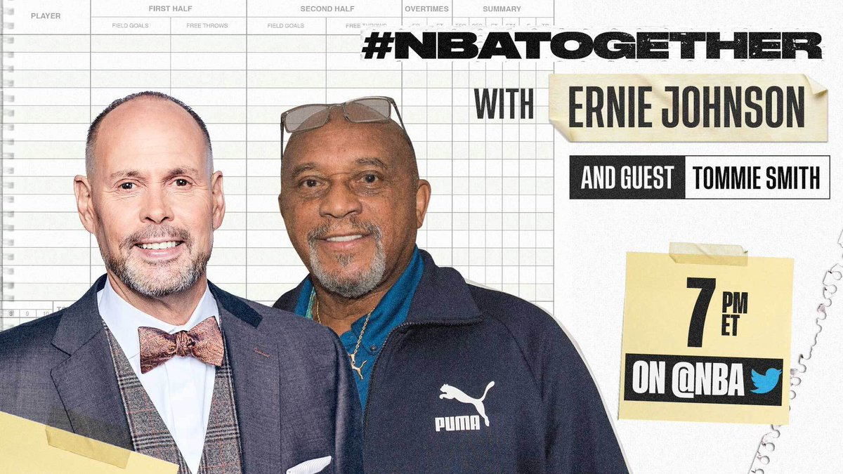 #NBATogether with Ernie Johnson (@TurnerSportsEJ) continues tonight at 7:00 PM ET on @NBA with 1968 Olympic Gold Medalist Tommie Smith. #NBAVoices https://t.co/2vxTw0G35y