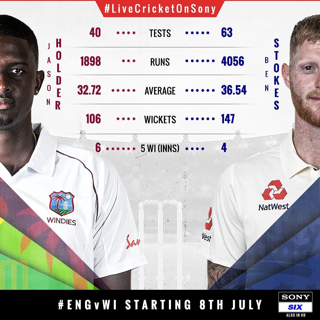 Clash of the Captains   Who will stand tall with their all-round performance in the st Test?   Find it out as LIVE cricket returns on Sony SIX  with #ENGvWI starting July 8   #CricketWithouBoundaries #Cricket #ILoveLiveCricket #LiveCricketOnSony #SonySports #Sports<br>http://pic.twitter.com/AlPAJCl4JW