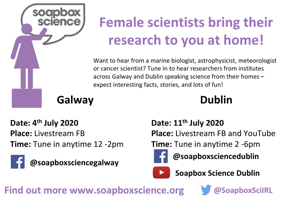 Delighted to announce the dates for @SoapboxScience #Ireland 2020! Tune in this July to hear our wonderful #WomenInSTEM speakers from institutes across #Dublin & #Galway live streaming their research straight to your home. See you there! #scicomm #womeninscience <br>http://pic.twitter.com/xBMFEwQXjj