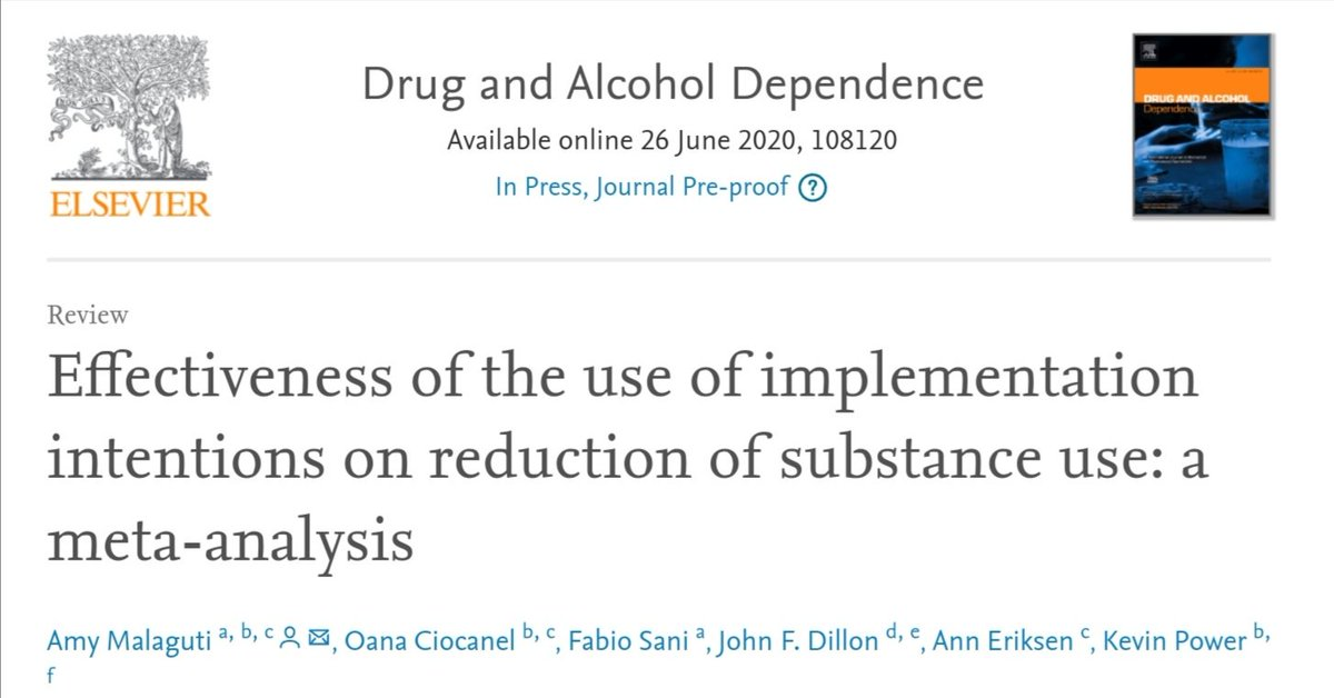 Excited to share our meta-analysis on implementation intentions  in substance use! Published in @DrugAlcoholDep Free access til August https://t.co/X59qXV9ZSs  @UoDPsychology @ProfJohnDillon @AnnaJEriksen @OanaCiocanel #alcohol #smoking #behaviourchange #healthpsychology #PhD https://t.co/RClipo1pMV