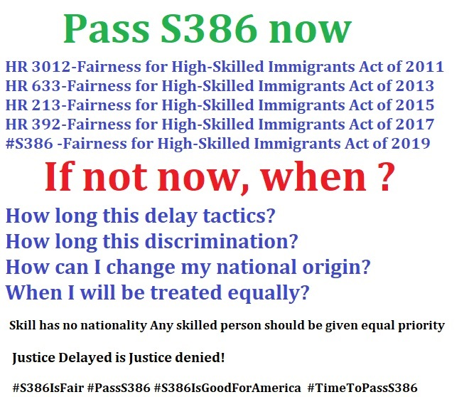 #S386 is about 'All skilled are equal' Country caps are racist! #S386 will treat all skilled immigrants equal #S386 will end reservations #S386 will restore values of America Why killing #S386? #ILpol #PassS386 #S386IsFair  @SenatorDurbin @SenateDems @jaredkushner <br>http://pic.twitter.com/N9iDaxJOJ9