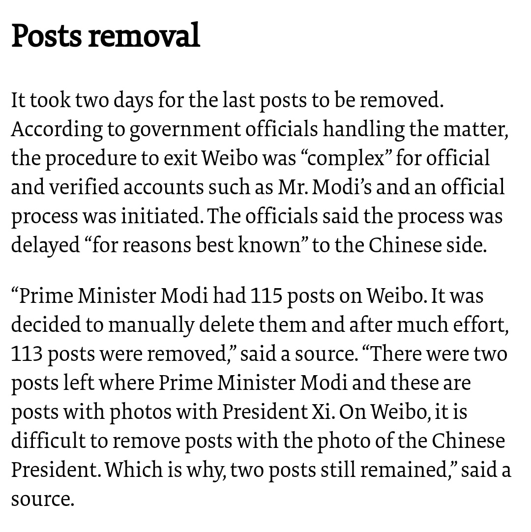 Havent read anything as crazy as this! China apps ban | PM Modi quits Weibo: thehindu.com/news/national/…