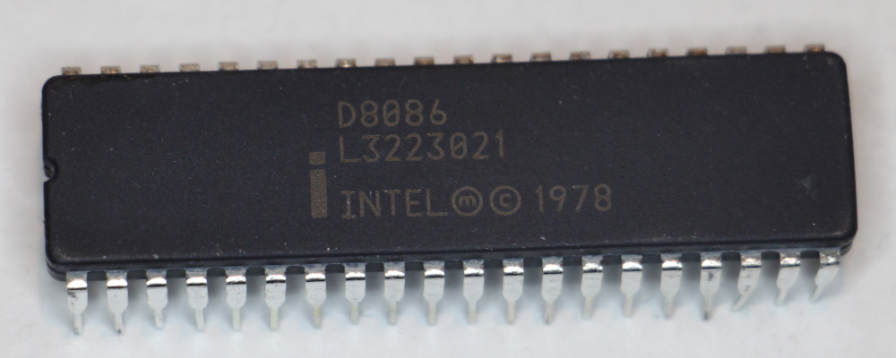 An integrated circuit in a 40-pin black ceramic package. Labeled D8086 Intel (M) Copyright 1978. But the chip was a fake.