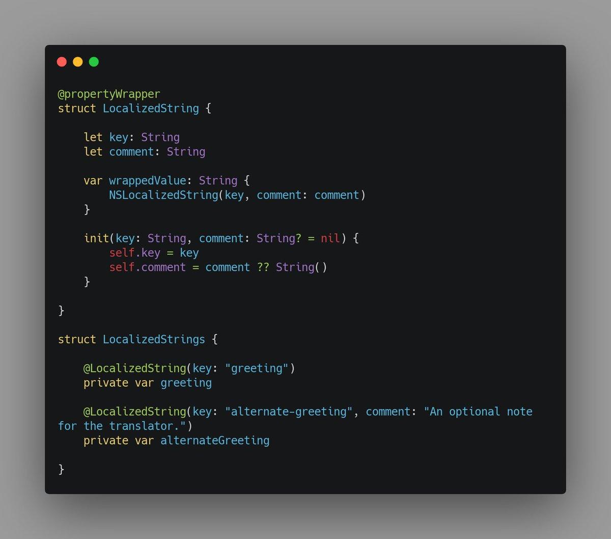 A property wrapper for localised strings. #Swift #SwiftLang <br>http://pic.twitter.com/KbJloMZnak