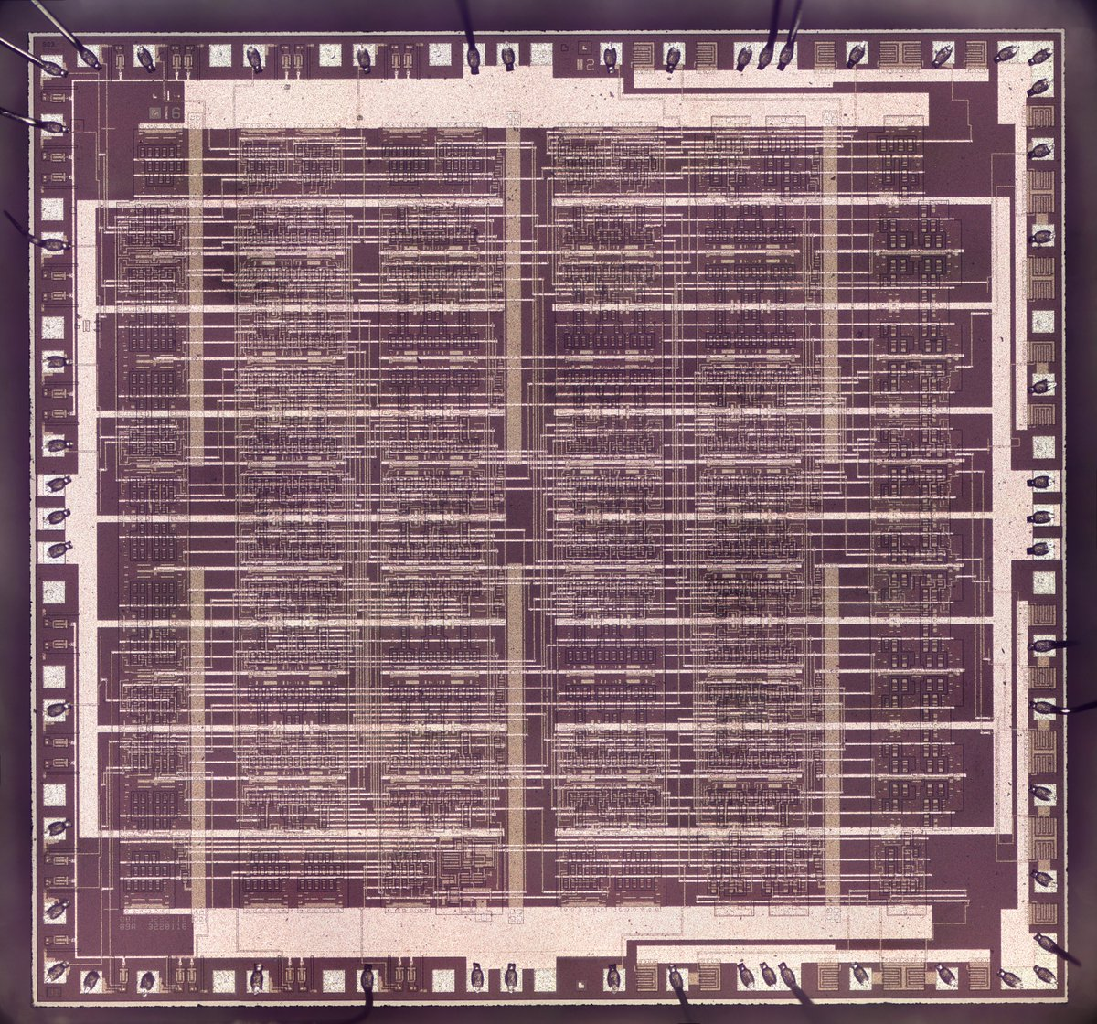 Die photo of the chip. The chip has a mostly-regular pattern of horizontal and vertical metal traces. The silicon appears purple in this photo. Bond wires are connected to pads around the edge of the chip.