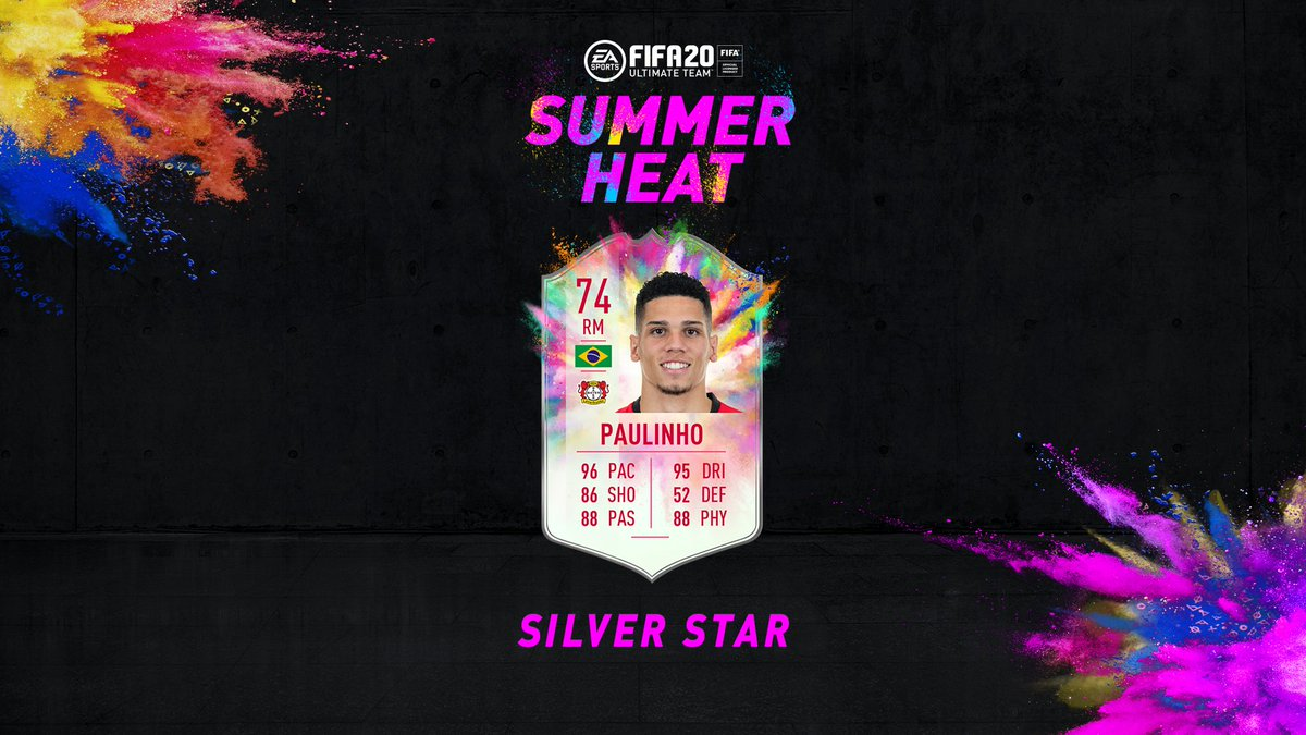 Introducing #SummerHeat☀️🔥 Silver Stars ⚪️⭐ Silver rated player items given massive stat boosts 📈 First up? @bayer04_ens Paulinho 🇧🇷👊 Squad Building Challenge available in #FUT20 now