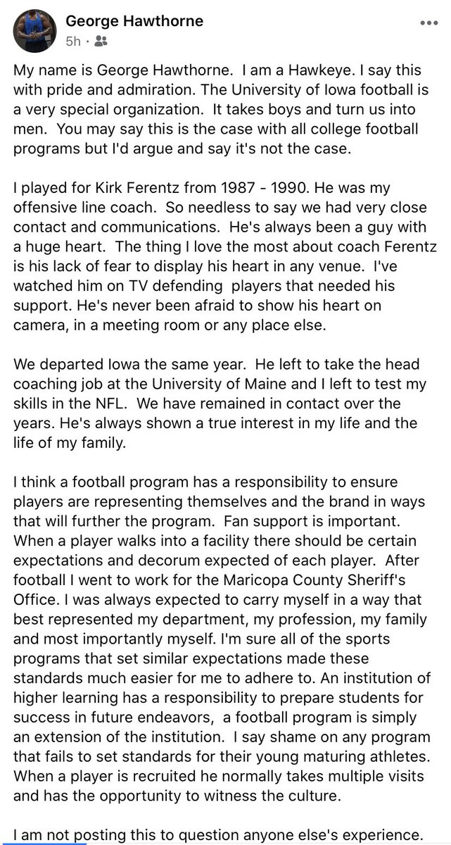Facebook post made earlier today by former Hawkeye OL George Hawthorne, who played for current Iowa head coach Kirk Ferentz when he was coaching Hayden Fry's offensive line in the '80s https://t.co/AYwxUbFOZ1 https://t.co/pOJKuTOamo