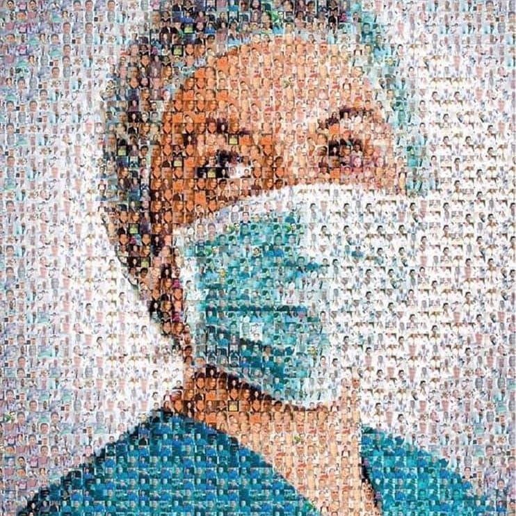 This portrait is made up of all the doctors and nurses who have lost their life during this pandemic, #Respect https://t.co/kZBxMGOJZU