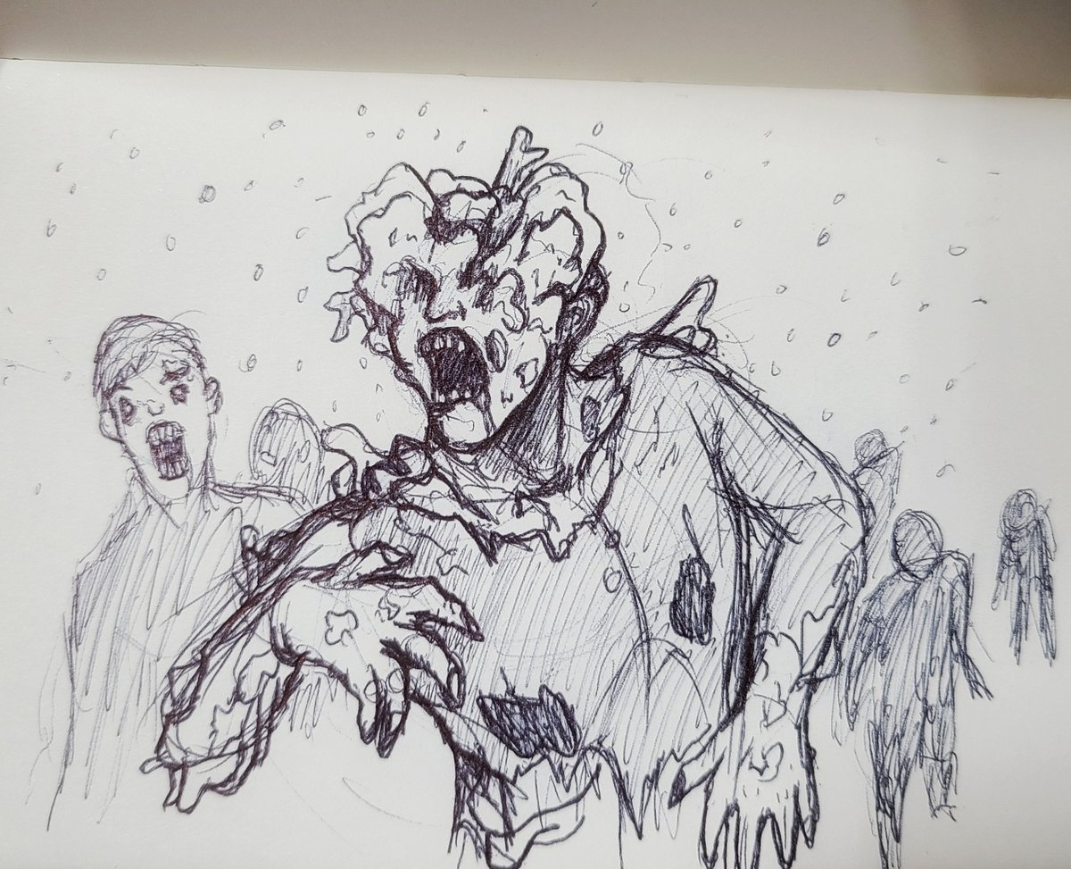 Tried to draw a clicker from memory at work today xD  Such an awesome version of zombies.  #clicker #lastofus2 #fanart #fansketch #sketchbook #doodle #doodlesketch #pensketch #traditonal #zombies #zombie #monsterart #horrorsketch #fantasypic.twitter.com/q4F0mO5PoB