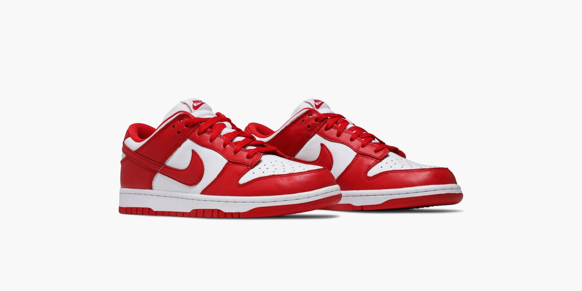 Celebrating the 35th anniversary of the Nike Dunk, the St. John's colorway returns on a Dunk Low. The simple white and University Red palette is rendered in an all leather build. Available on the app: https://t.co/G0PcWoiitW https://t.co/cp39M3qKZA