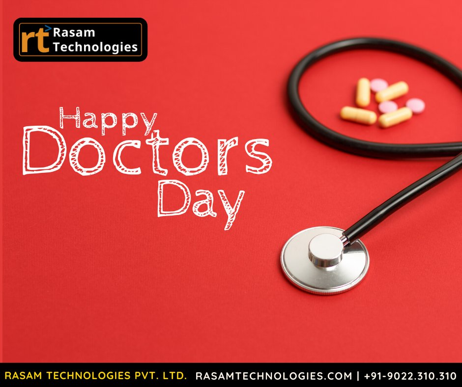 """Happy Doctor's Day"" to all the doctors who always put their patients first and do their best to gift health to their patients.  #happydoctorsday #rasamtechnologies #rt #mobileapplication #ui #ux #development #website #ecommerce #androidappdevelopment #websitedesign #socialmedia https://t.co/Eovap9w5zy"