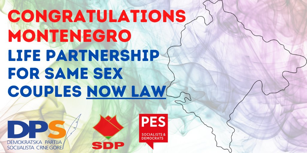 Congratulations Montenegro! 👭👬 Social Democrat-led Government of DPS with opposition SDP just passed a law on life partnership for same sex couples. 👏👏 to hard work of Montenegrin LGBTI groups. #Montenegro #SameSexPartnership #LGBTI https://t.co/4GuL7sF4lm