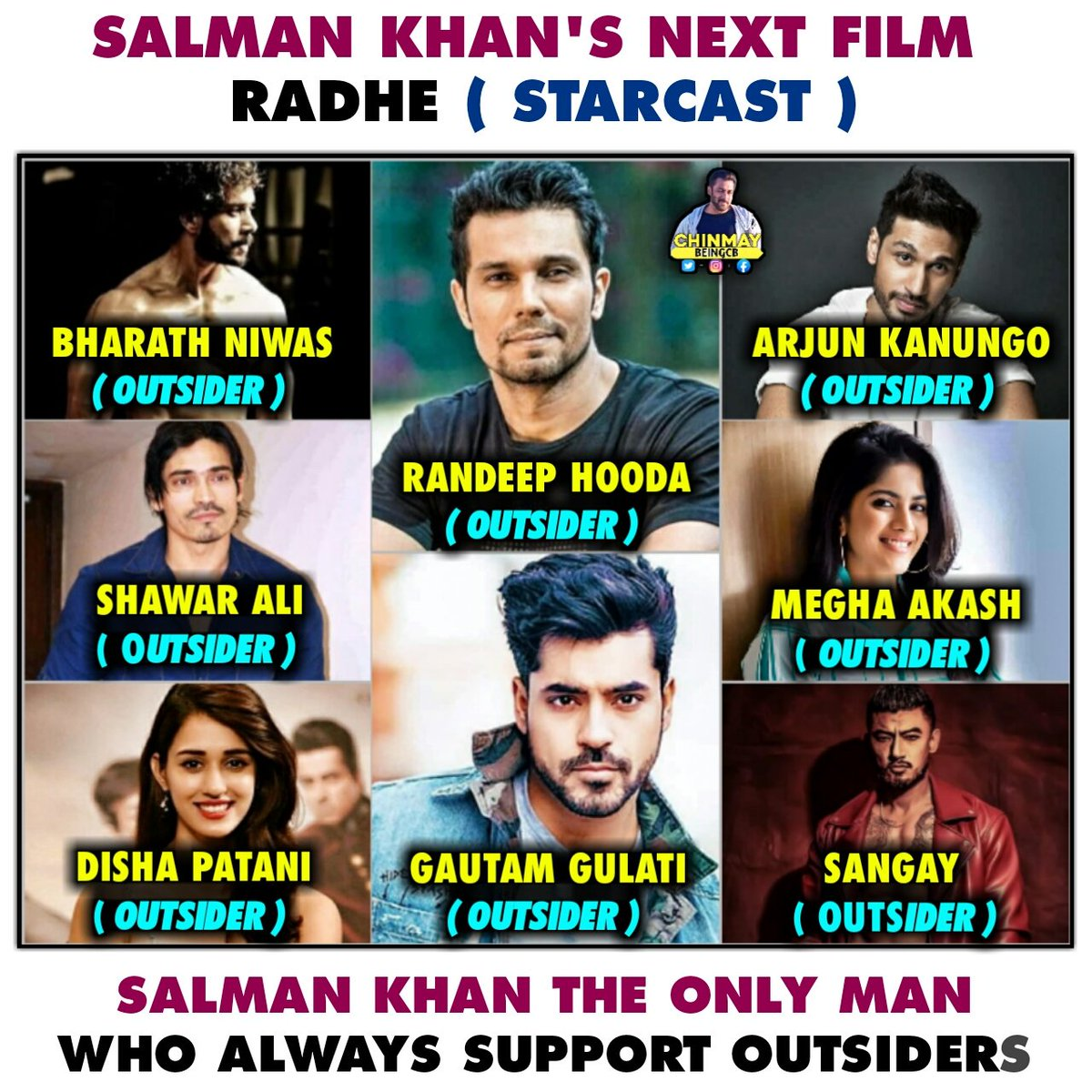 - #SalmanKhan The Man Who Always Supports Outsider's.    Always Love & Respect For this Man  @BeingSalmanKhan  Salman Khan Upcoming Movie Radhe's Main Cast :