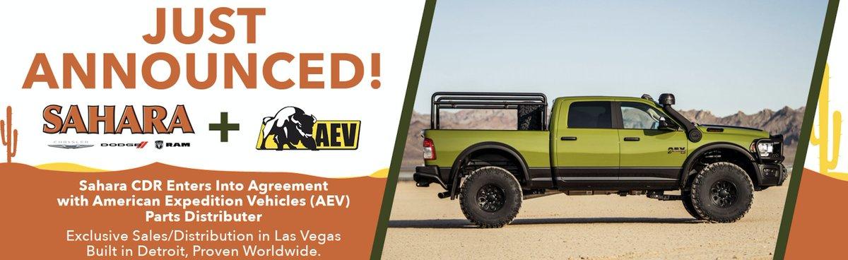 Sahara CJDR Enters Into Agreement with American Expedition Vehicles (AEV) Exclusive Sales/Distribution in Las Vegas https://www.saveonsahara.com/ #lasvegas #aev #vegas #jeep #wrangler #gladiator #jlwrangler #4x4 #nevada #offroadpic.twitter.com/Yst7djo9gT